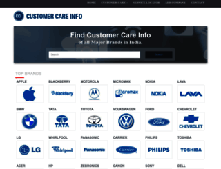 customercareinfo.in screenshot