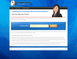 customerservicephonenumbers.co.uk screenshot