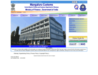 customsmangalore.gov.in screenshot