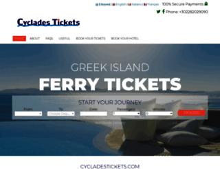 cycladestickets.com screenshot