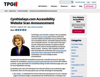 cynthiasays.com screenshot