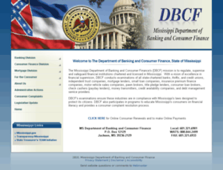 dbcf.state.ms.us screenshot
