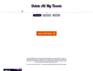 deleteallmytweets.com screenshot