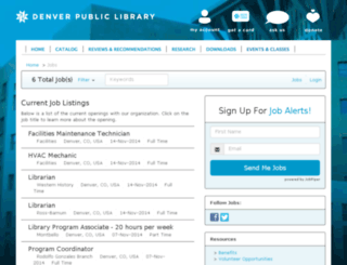 denverlibrary.applicantpro.com screenshot
