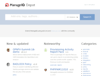 depot.manageiq.org screenshot