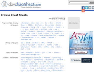devcheatsheets.com screenshot