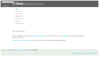 developer.ning.com screenshot