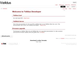 developer.telldus.com screenshot