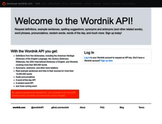 developer.wordnik.com screenshot