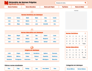 dicionariodenomesproprios.com.br screenshot