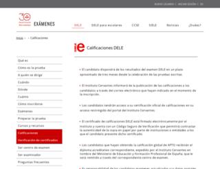diplomas.cervantes.es screenshot