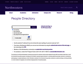 directory.northwestern.edu screenshot