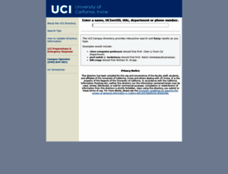 directory.uci.edu screenshot