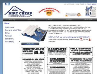dirtcheaphouseplans.com screenshot