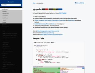 docs.pyspider.org screenshot