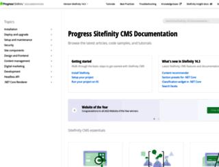 docs.sitefinity.com screenshot
