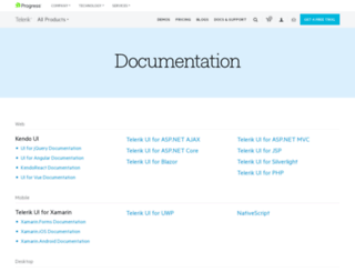 documentation.telerik.com screenshot