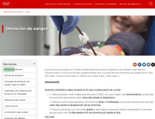 donarsangre.sanidadmadrid.org screenshot