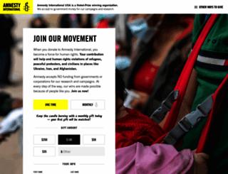 donate.amnestyusa.org screenshot