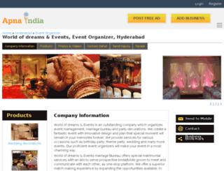 dreamsandevents-hyderabad.apnaindia.com screenshot
