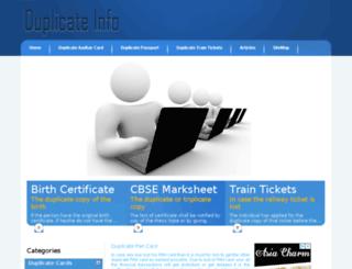 duplicateinfo.co.in screenshot