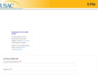 efile.universalservice.org screenshot