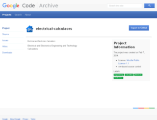 electrical-calculaors.googlecode.com screenshot