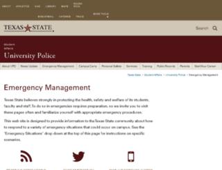 emergencyinfo.txstate.edu screenshot
