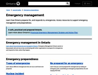 emergencymanagementontario.ca screenshot