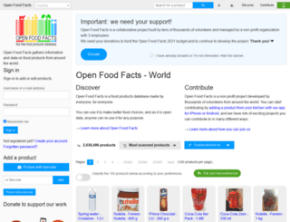 en.openfoodfacts.org screenshot