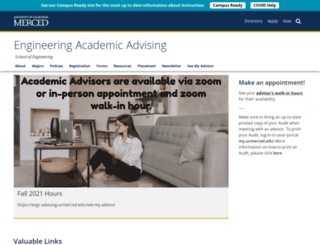 engr-advising.ucmerced.edu screenshot