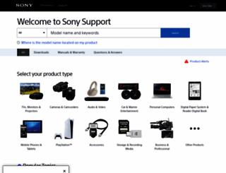 esupport.sony.com screenshot