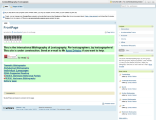 euralex.pbwiki.com screenshot