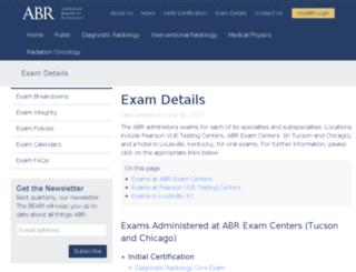 exam-information.theabr.org screenshot