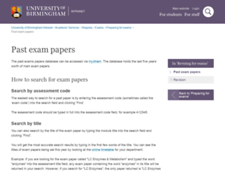 exampapers.bham.ac.uk screenshot