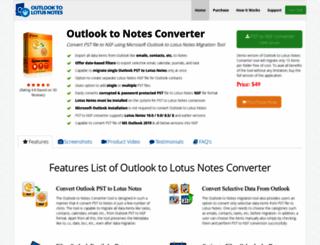 exchange.outlooktolotusnotes.com screenshot