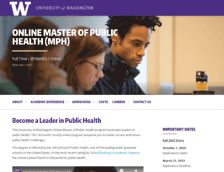 executivemph.uw.edu screenshot