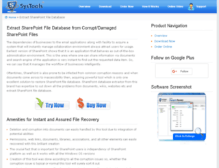 extractsharepointfiledatabase.datarestoresoftware.com screenshot