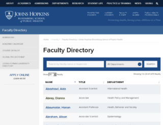 faculty.jhsph.edu screenshot