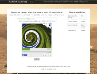 faucet.marscoin.org screenshot