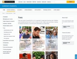 fees.curtin.edu.au screenshot
