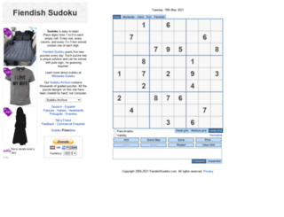 fiendishsudoku.com screenshot