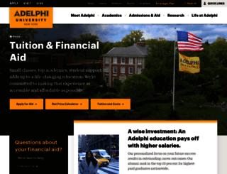 financial-aid.adelphi.edu screenshot