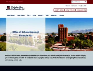 financialaid.arizona.edu screenshot