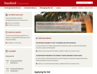 financialaid.stanford.edu screenshot