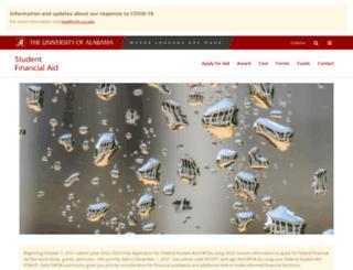 financialaid.ua.edu screenshot