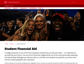 financialaid.uc.edu screenshot