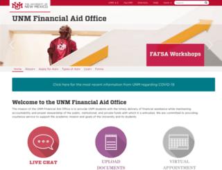 financialaid.unm.edu screenshot