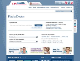 findadoctor.uwhealth.org screenshot