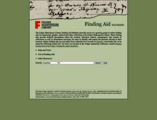 findingaids.folger.edu screenshot
